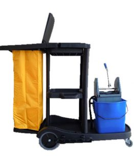 carro de limpieza negro con cubo escurridor